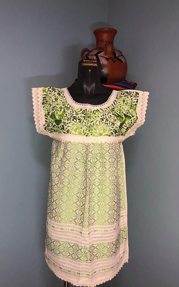Green Handcraft Dress From Oaxaca Style By Me